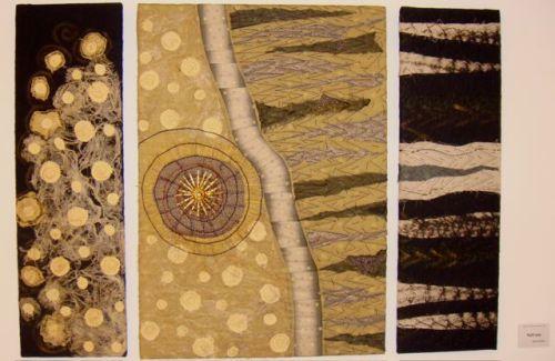 Textile art triptich by Silvie Umiker